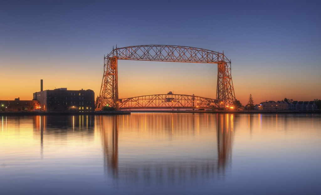 Duluth Minnesota Lift Bridge Dawn with reflection