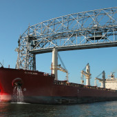 Duluth Lift Bridge and ship