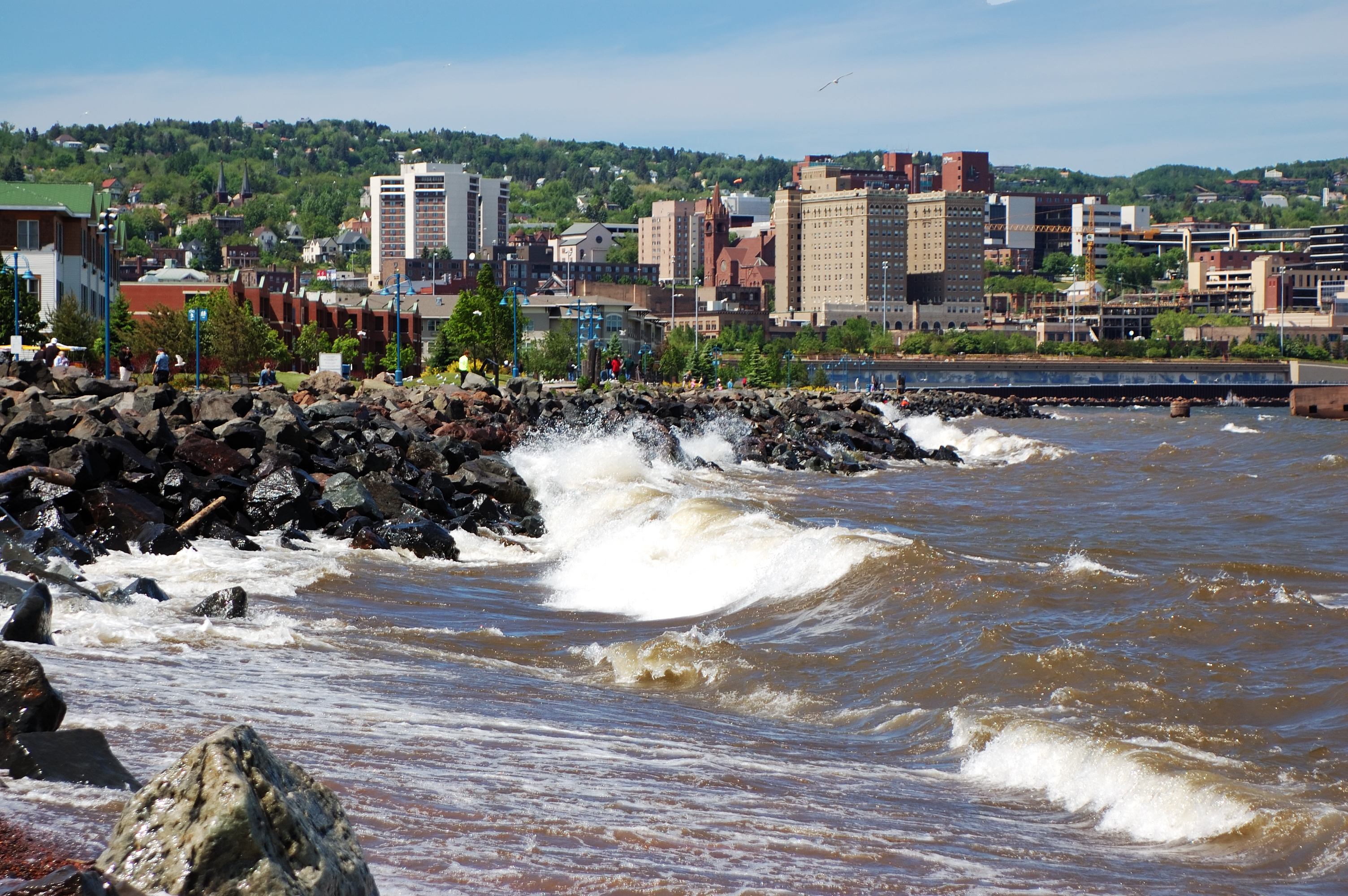 """""""Photo of Duluth, MN, as the waves of Lake Superior crash against the rocks."""""""