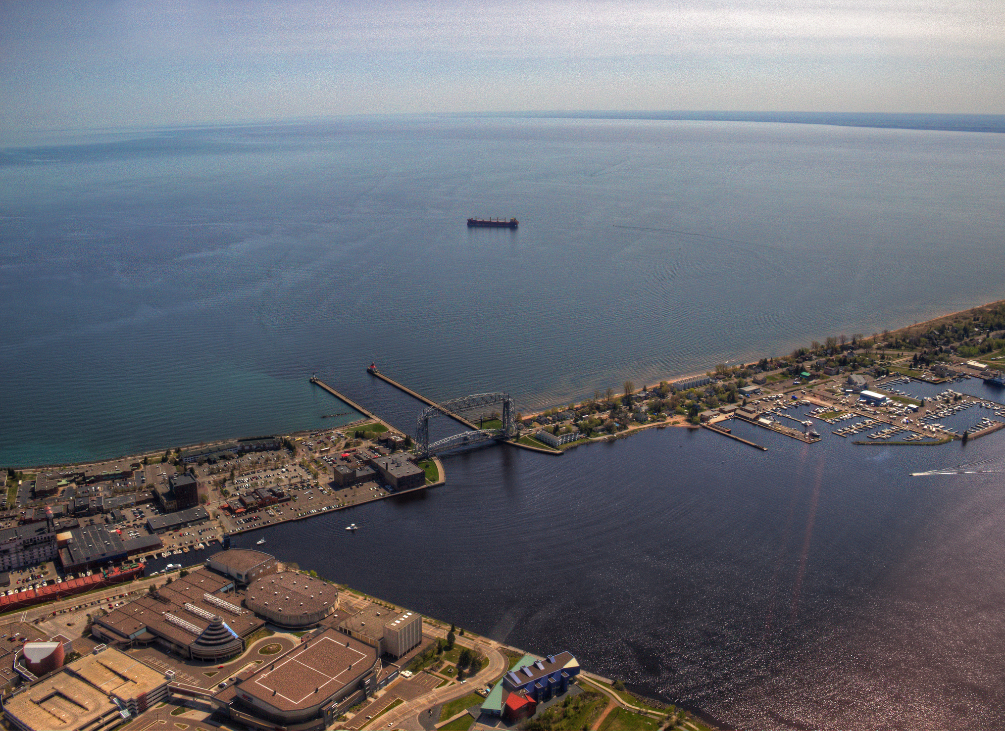 Duluth, Minnesota seen from above from a Helicopter