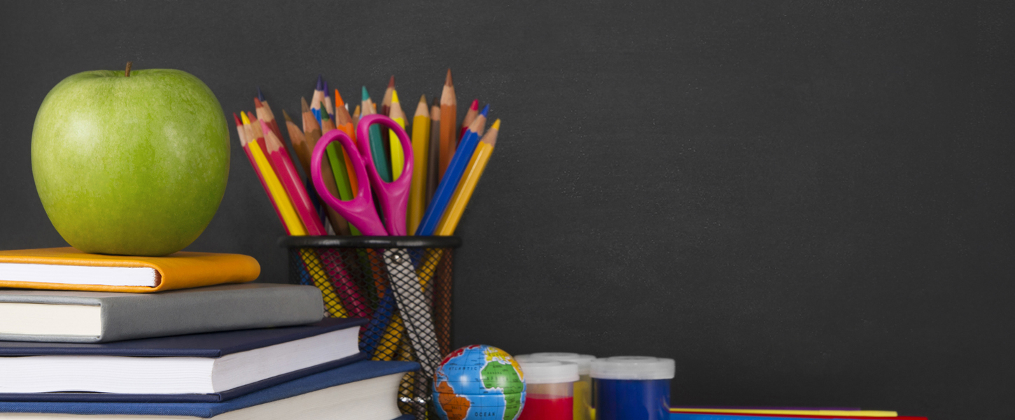 School Supplies with Apple and Chalkboard