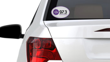 Rear of car with Life 97.3 window cling on window