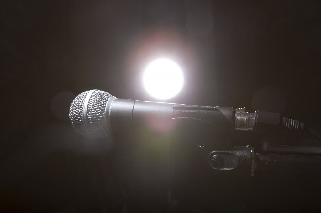 Microphone with a spotlight on it